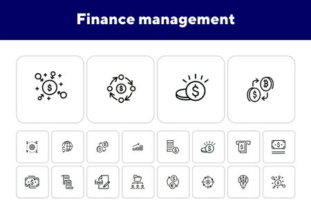 Finance management line icon set. Money, cash, currency exchange, cashback. Finance concept. Can be used for topics like finance consulting, planning budget, income, investment