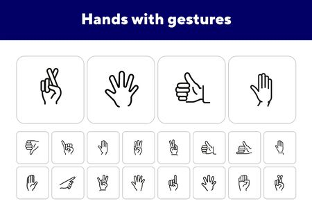 Hands with gestures line icon set. Thumbs up, pointing, ok sign. Gesture concept. Vector illsutration can be used for topics like communication, gesture language, social Zdjęcie Seryjne - 138044246