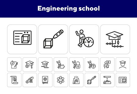 Engineering school line icon set. Gear, graduation hat, diploma, mechanism. Engineering concept. Can be used for topics like education, college, technical occupation Illusztráció