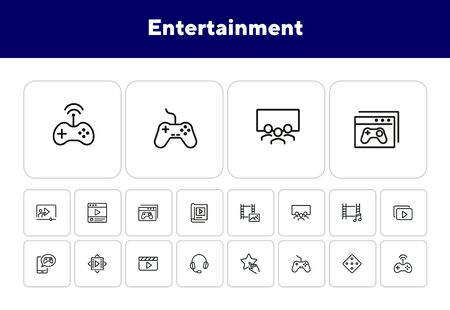 Entertainment line icon set. Cinema, multimedia file, game controller. Leisure concept. Can be used for topics like media content, movie watching, video game Ilustração