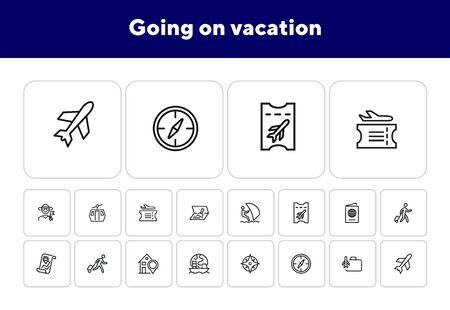 Going on vacation icon set. Travel concept. Vector illustration can be used for topics like cruise, journey, holiday Фото со стока - 138044892