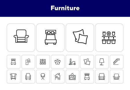 Furniture line icon set. Set of line icons on white background. Lamp, stair, chair, bed. Interior concept. Vector illustration can be used for household, interior, design