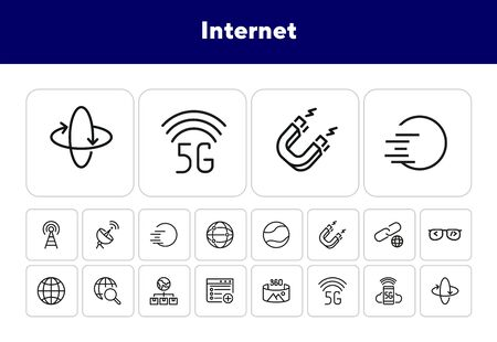Internet line icon set. Globe, satellite, browser. Communication concept. Can be used for topics like wireless technology, connection, global network Illustration