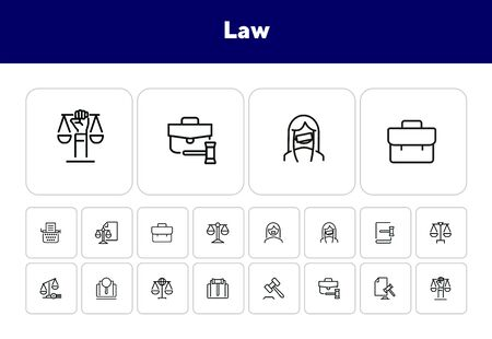 Law line icon set. Set of line icons on white background. Scale, advocate, judge. Law concept. Vector illustration can be used for topics like
