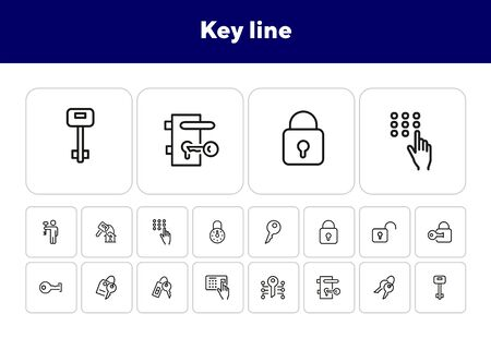 Key line icons. Set of line icons on white background. Safety concept, Key, locker, entry phone. Vector illustration can be used for house, house security, computer programs Çizim