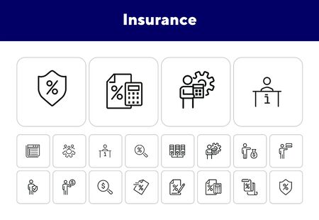 Insurance line icon set. Businessman, investor, paper, loan agreement. Business concept. Can be used for topics like finance, protection, investment, saving, deposit