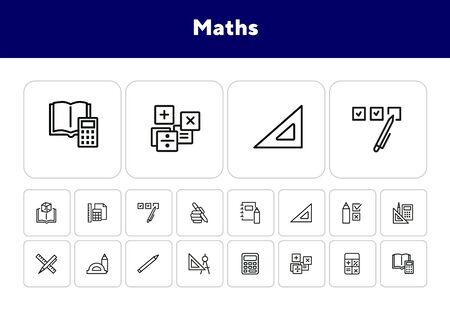 Math line icon set. Set of line icons on white background. Calculation concept. Calculator, pencil, protractor. Vector illustration can be used for topics like school, college, education Ilustracja
