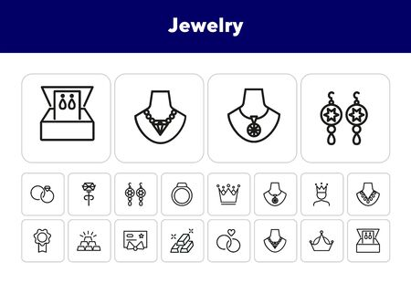Jewelry line icon set. Necklace, chain, gem, rings, pendant, crown. Jewel concept. Can be used for topics like fashion, accessory, luxury