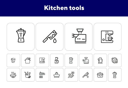Kitchen tools line icon set. Set of line icons on white background. Knife, juicer, frying pan. Cooking concept. Vector illustration can be used for topics like kitchen, cooking, food, household