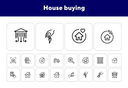 House buying line icon set. Set of line icons on white background. Building, house, home, key. Mortgage concept. Vector illustration can be used for topics like social, real estate Illusztráció