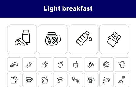 Light breakfast line icon set. Set of line icons on white background. Cup, spoon, walnut. Snack concept. Vector illustration can be used for topics like eating, drinking, healthy, diet Ilustracja