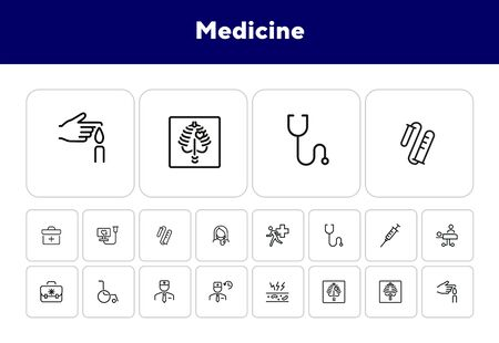 Medicine line icon set. Set of line icons on white background. Healthcare concept. Doctor, drug products, medicine. Vector illustration can be used for topics like hospital, healthcare