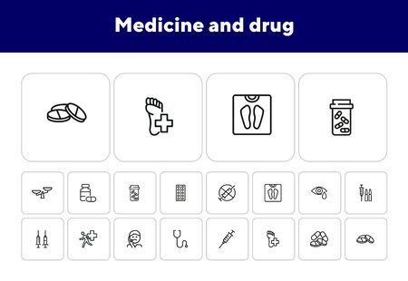 Medicine and drug icons. Set of line icons on white background. Syringe, injection, illness. Hospital concept. Vector illustration can be used for topics like medicine, drug store, healthcare Archivio Fotografico - 138046168