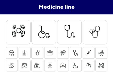 Medicine line icons. Set of line icons on white background. Healthcare concept. Ambulance, syringe, danger. Can be used for topics like pharmacy, medicine, hospital Archivio Fotografico - 138046032