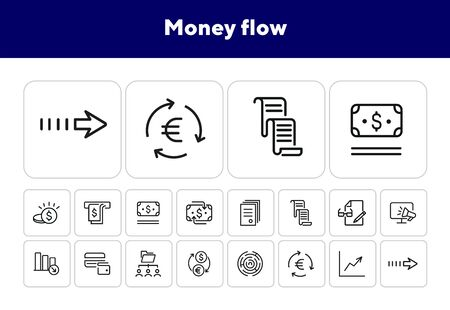 Money flow icons. Set of line icons. Currency exchange, decreasing bar chart. Finance concept. Vector illustration can be used for topics like finance, business, banking