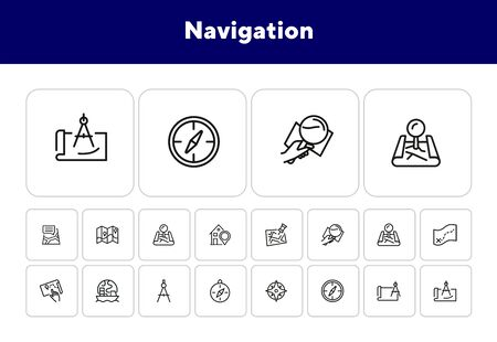 Navigation line icon set. Map, compass, location. Planning route concept. Can be used for topics like travel, destination, cartography Ilustrace
