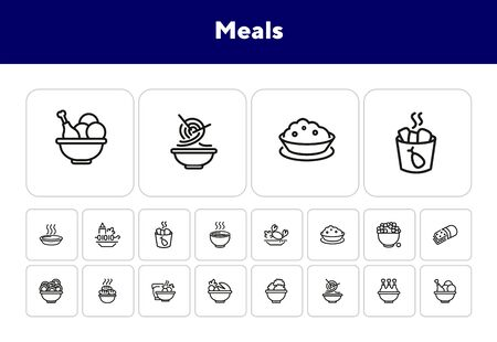 Meals line icon set. Bowl, chicken, Chinese noodle. Food concept. Can be used for topics like cooking, restaurant, dinner 向量圖像