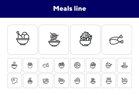Meals line icons. Set of line icons on white background. Cooking concept. Salad, fish, chicken. Vector illustration can be used for topics like kitchen, cooking, restaurants 向量圖像