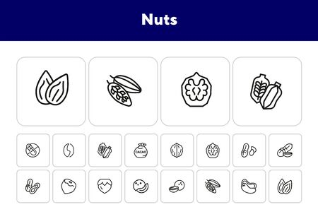 Nuts line icon set. Peanut, hazel nut, almond. Food concept. Can be used for topics like vegan diet, organic nutrition, health care Çizim