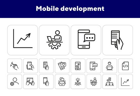 Mobile development line icon set. Mobile phone, using digital tablet, technician. Information technology concept. Can be used for topics like programming, coding, software Illustration