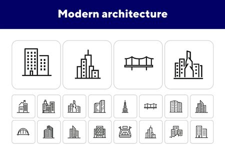 Modern architecture line icon set. Skyscraper, office building, block of flats. Buildings concept. Can be used for topics like urban life, business district, downtown Çizim