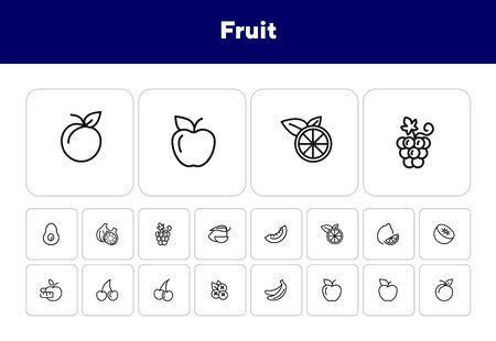 Fruit line icon set. Lemon, apple, cherry. Food concept. Can be used for topics like vegan diet, organic nutrition, health care Ilustrace
