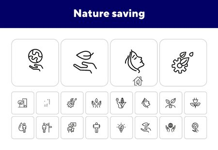 Nature saving line icon set. Set of line icons on white background. Ecology concept. Leaf, person, battery, energy. Vector illustration can be used for topics like environment, ecology
