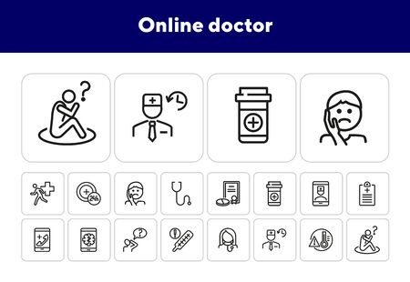 Online doctor line icon set. Toothache, remedy, high body temperature. Medicine concept. Can be used for topics like ambulance call, phone consulting, treatment