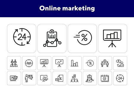 Online marketing line icon set. Presentation, graph, announcement. Business concept. Can be used for topics like SEO, internet advertising, analysis