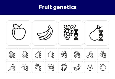 Fruit genetics line icon set. Eggplant, lemon, dna spiral, vegetables. Food concept. Can be used for topics like genetics, agriculture, GM food
