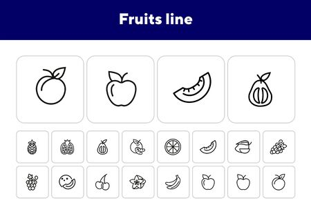 Fruits line icons. Set of line icons on white background. Grapes, cherry, apple. Healthy food concept. Vector illustration can be used for topics like grocery, shop, market Foto de archivo - 138187631