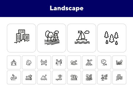 Landscape line icon set. Park, beach, street. Stroll concept. Can be used for topics like vacation, city, nature