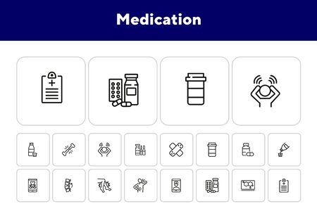 Medication line icon set. Adhesive bandage, pills, pain, symptoms. Healthcare concept. Can be used for topics like treatment, therapy, cure