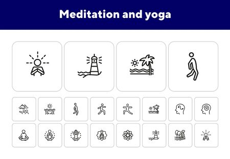 Meditation and yoga line icon set. Health, wellness, leisure. Buddhism concept. Can be used for topics like spirituality, peace, relaxation Foto de archivo - 138187723