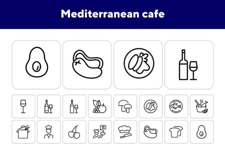 Mediterranean cafe line icon set. Wine, fish, spaghetti, avocado, vegetables. Eating concept. Can be used for topics like healthy diet, food, restaurant, menu, cooking Archivio Fotografico - 138187724