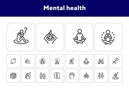 Mental health line icon set. Person, patient, brain, disease. Health concept. Can be used for topics like disorder, medical help, symptoms