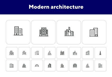 Modern architecture line icon set. Apartment house, skyscraper, office, arc bridge. Urban life concept. Can be used for topics like big city, downtown, business center Illusztráció