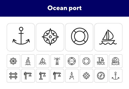 Ocean port icons. Set of line icons. Anchor, compass, cruise. Nautics concept. Vector illustration can be used for topics like seamanship, nautics Banque d'images - 138187730