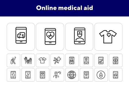 Online medical aid line icon set. Ambulance, help, smartphone. Telemedicine concept Can be used for topics like service, diagnostic, healthcare