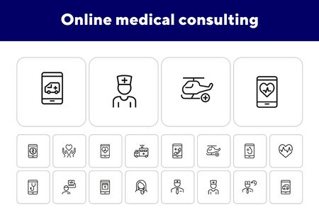 Online medical consulting line icon set. Emergency call, helicopter, doctor schedule. Health care concept. Can be used for topics like medicine, mobile app, medical help