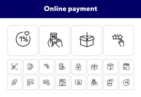 Online payment line icon set. Set of line icons on white background. Shopping, carton box, payment. Vector illustration can be used for topics like internet, shopping Ilustração