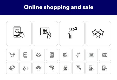 Online shopping and sale line icon set. Set of line icons on white background. Market concept. Mobile, screen, gift card. Vector illustration can be used for topics like internet, shopping