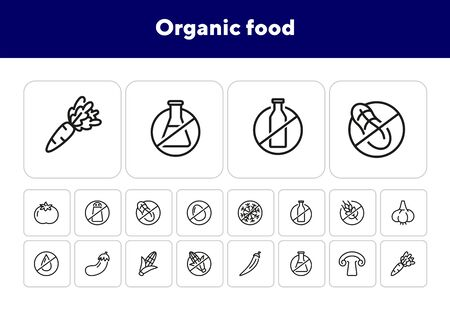 Organic food line icon set. Vegetable, gluten free, lactose free. Food concept. Can be used for topics like healthy nutrition, diet, fresh food Çizim