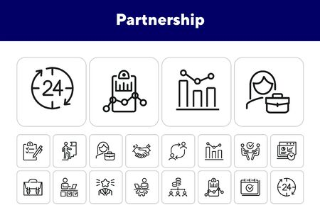 Partnership line icon set. Handshake, meeting, briefcase. Business concept. Can be used for topics like cooperation, teamwork, working on project Banco de Imagens - 138187785