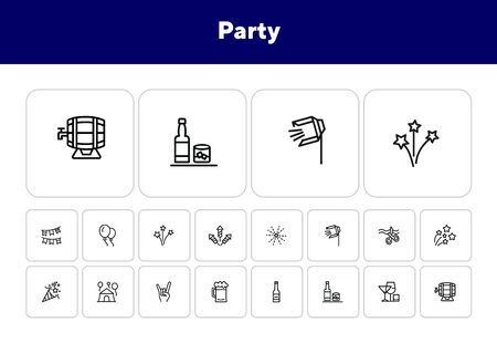 Party line icon set. Firework, big opening, cracker. Celebration concept. Can be used for topics like holiday, fun, alcohol