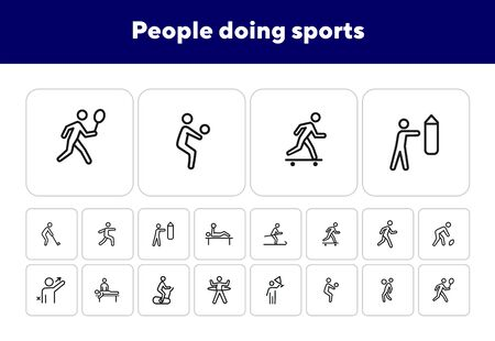 People doing sports line icon set. Set of line icons on white background. Baseball, boxing, golfer. Sports type concept. Vector illustration can be used for topics like activity, lifestyle, fitness Illustration