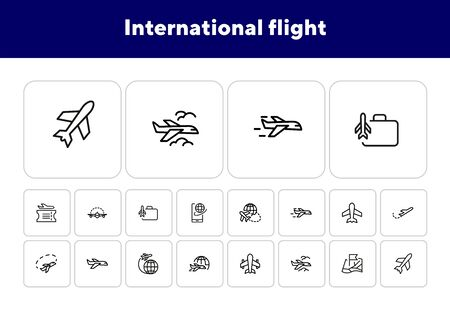International flight icon set. Travel concept. Vector illustration can be used for topics like cruise, journey, holiday Иллюстрация