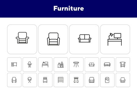 Furniture line icon set. Set of line icons on white background. Chair, bed, table. Indoor concept. Vector illustration can be used for topics like furniture, design, interior