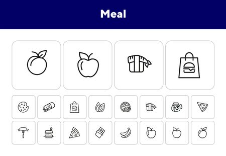 Meal line icon set. Set of line icons on white background. Food concept. Pizza, lemonade, banana. Vector illustration can be used for topics like supermarket, cooking 向量圖像