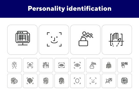 Personality identification line icon set. Set of line icons on white background. Fingerprint, hand, access. Security concept. Vector illustration can be used for topics like technology, security